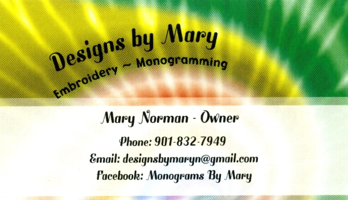 Facebook: Monograms By Mary ~ (901) 832-7949